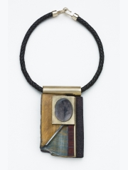 "(12) 4.50""x3.75""x7/8"" blue and gold tiger eye slab, Black obsidian cabochon, cork, steel, bocote wood, leather cord"