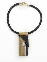 "(129) 4"" x 2 5/8x"" x 1/2"" black obsidian bezeled in bronze, grey baroque pearl, oxidized brass, stainless trim, brass bale, leather cord"