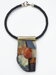 """(15) 5.0""""x3.0""""x1.0"""" serpentine agate, agate cabochon, sapele, marble wood, bamboo, brass, plastic,walnut base, leather cord SOLD"""