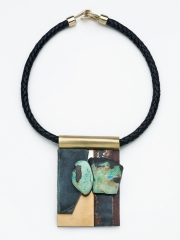(17) 3 7/8x2.5x1.0 turquoise, SLAB, obsidian, bronze, rusted metal, stainless steel, brass, leather cord