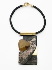 """(21) 5 1/4"""" x 3"""" x 1/2"""" picture rock jasper cabochon, pink rhodonite mineral slab , brass, stainless steel, oxidized rust, brass bale, leather cord"""