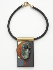 "(03) 4.5""x2 3/8""x1"" turquoise slab, jet cabochon, birdseye maple disc, bocote wood brass, leather cord"