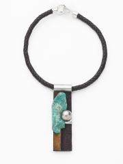 """(87) 4 5/8"""" x 1 1/4"""" x 1"""" turquoise , rusted steel, stainless dot, bronze, stainless steel"""