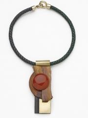 """(139) 4 1/2"""" x 2"""" x 7/8"""" sedona sunrise slab, birdseye maple, jade, brass bale, leather cord"""