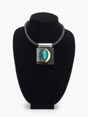 """(142M) 2 3/4"""" x 2 1/8"""" x 7/8"""" rock, turquoise, bone, stainless steel, leather cord"""