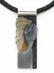 """(172) 4"""" x 1 1/4"""" x 7/8"""" """" amethyst geode fragment, sandstone, stainless steel, leather cord"""
