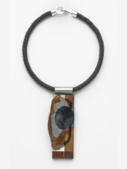 (58) 4 3/4x 1 ½ x ¾ Picture jasper, copper, stainless, brass, leather cord