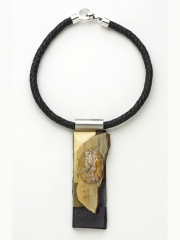 (59) 4 ⅞ x 15/8 x3/8 agate cabochon, agate slab, cork, brass, stainless steel, leather cord