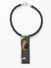 """(95) 4 7/8"""" x1"""" x3/8"""" fossilized wood cabochon, obsidian slab, bronze, cork, stainless steel, bocote wood, leather cord"""