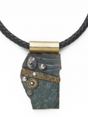 """(188) 3 1/2"""" x 2"""" x 1/2"""" black granite slabs, textured brass finding, crinoid, pearl, agate druzy cabochon, brass bale, leather cord"""