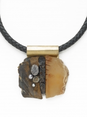 """(189) 2 7/8"""" x 2 3/4"""" x 1/2"""" mineral slabs, textured brass, crinoid, pearl, druzy cabochon, brass bale, leather cord"""