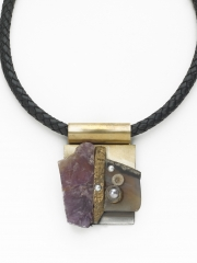 """(190) 2 7/8"""" x 2 1/4"""" x 1/2"""" amethyst, agate brass textured finding, crinoid fossils, pearl, brass bale, stainless steel finding"""