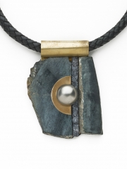 """(191) 3 v1/2"""" x 2 1/2"""" x 3/4"""" black mineral, druzy bar, stainless steel dome. brass bale, leather cord"""