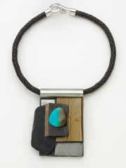 """(06) 3 3/4""""x2 7/8""""x1"""" turquoise, wildhorse picture jasper, obsidian, steel, wood base, leather cord"""