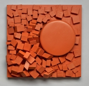 "ORANGE CRUSH 2015 10"" x 10"" x 4"" Painted Wood"