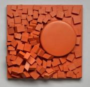 "ORANGE CRUSH 2015 10"" x 10"" x 4"" Painted Wood"