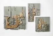 "Site Grid 2016 23"" x 37"" x 3"" (overall ) wood, acrylic, shells, whale bone, plastic"