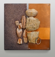 Unearthed 2016 12x12x3 cork, pottery shards, steel, plastic