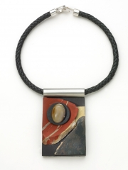 "(09) 4.0""x2.5""x1.25"" Brazilian agate cabochon, red jasper slab, obsidian slab, brass, walnut base, leather cord"