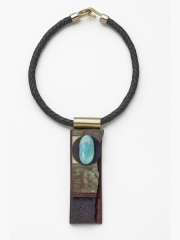 "(51) SOLD 5.5""x1 3/8""x7/8"" turquoise cabochon, agate slab, cork, wood, brass, sapele wood base, leather cord"