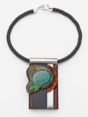 "(08) 4.5""x2.5""x1"" Aventurine cabochon, birdseye maple disc, stainless steel, bocote wood, leather cord"
