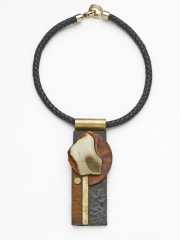 "(140) 5"" x 2"" x 1"" polychrome jasper slab, birdeye maple, aged copper, brass bale, leather cord"