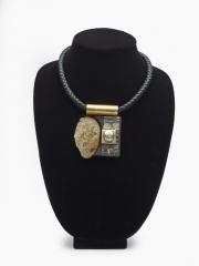 """(146M) 3"""" x 2 1/2"""" x 5/8"""" rock, baroque pearl cork, copper, brass, leather cord"""