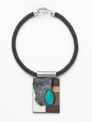 (62) 2 ⅝ x 2 x 3/8 turquoise stone, stainless, bronze, agate, leather cord
