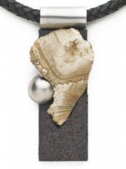 "(175) 4"" x 1 1/2"" x 5/8"" Gibbs jasper, cork, stainless steel, leather cord"
