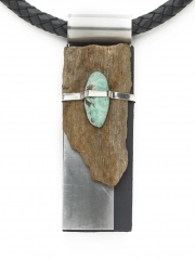 "(180) 4 3/8"" x 1 3/8"" x 3/4"" petrified wood, turquoise cabochon, sterling silver, stainless steel, leather cord"