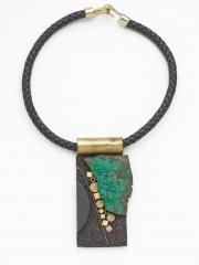 "(138) 4 1/8"" x 2"" x 5/8"" azurite/malachite slab, brass findings, bezel, cork, leather cord"