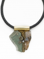 "(187) 3 1/4"" x 2 3/4"" x 1/2"" green mineral, moss agate, textured brass, crinoid, brass bale, leather cord"