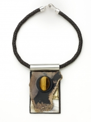 "(02) 4.0""x2.75""x1"" petrified wood, tiger eye cabochon, brass, white agate slab, leather cord"